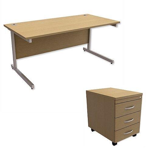 Office Desk Rectangular Silver Legs W1600mm With Mobile 3-Drawer Pedestal Urban Oak Ashford – Cantilever Desk &Extra Storage , 25 Year Warranty