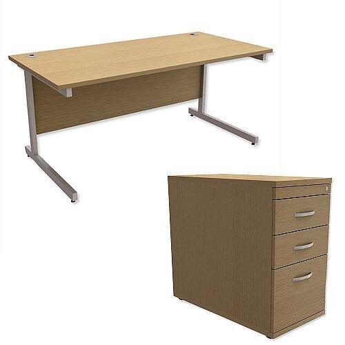 Office Desk Rectangular Silver Legs W1600mm With 800mm Deep Desk High Pedestal Urban Oak Ashford  – Cantilever Desk &Extra Storage , 25 Year Warranty