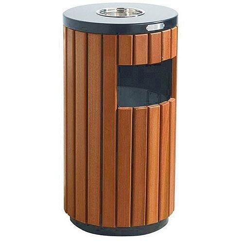 Outdoor Litter Bin Outdoor Brown Wood/Timber Effect 33 Litre 316874