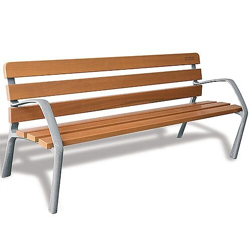Outdoor Wooden Bench With Cast Iron Legs 370109