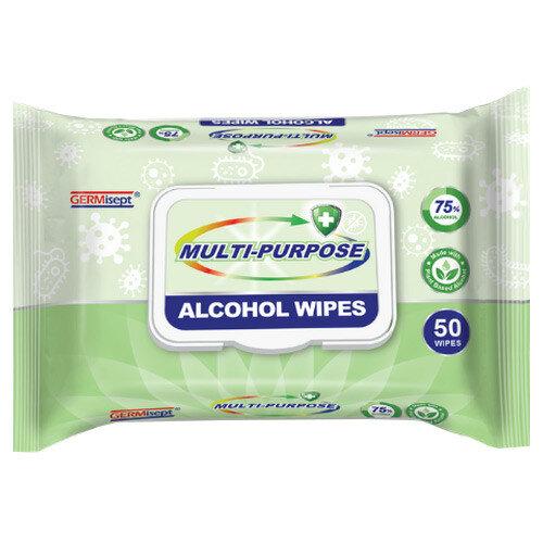 Germisept Multipurpose 75% Alcohol Wipes 50 Wipes Per Pack (24 Pack)