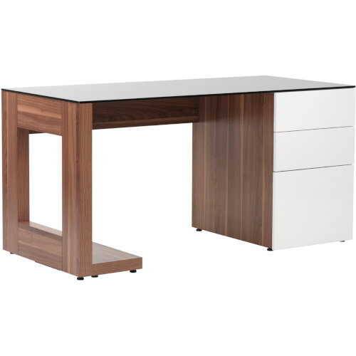 Alphason Sorbonne Desk Walnut with Black Tempered Glass Worktop & White 3 Drawer Pedestal W1500xD700xH720mm