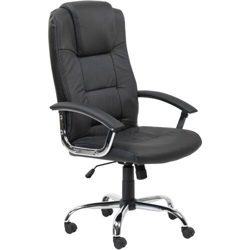 Alphason Houston Executive Chair Leather High Back Black - Weight Tolerance: 114kg