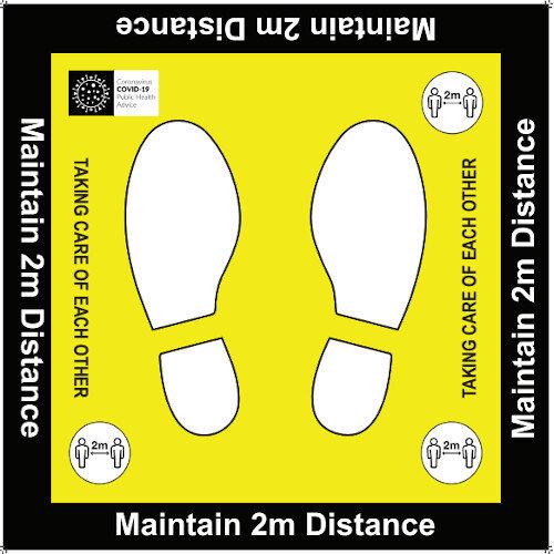 Maintain 2 Metres Floor Sign 600x600