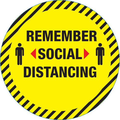 Social Distancing Circle Floor Sign 42cm Pack 10