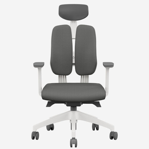 Duorest 2.0 Ergonomic Office Chair with Adjustable Curved Headrest Grey