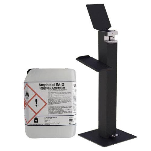 Metal Free-Standing Sanitiser Gel Dispenser Anthracite & 5L Fully Approved Ethanol Based Sanitiser Gel