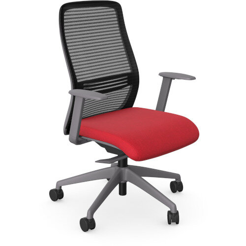 NV Posture Office Chair with Contoured Mesh Back and Adjustable Lumbar Support Grey Frame Red Seat