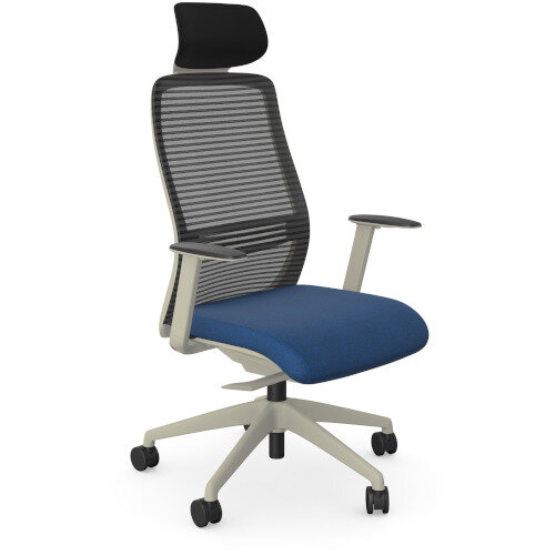 NV Posture Office Chair with Contoured Mesh Back and Adjustable Lumbar Support & Headrest White Frame Navy Blue Seat