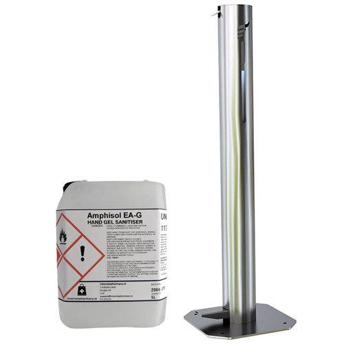 Hygenise Pedal-Operated Hand Sanitiser Dispenser Large & 5L Fully Approved Ethanol Based Hand Sanitizer Gel PCS 100421 Bundle Offer