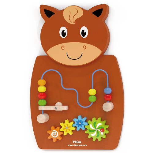 Wall Toy - Wire Beads & Gears/Horse - Educational Toy - Learn Hand-Eye Co-Ordination, Problem-solving Skills - 60x550x55 mm (L x H x W) - Colour: Brown