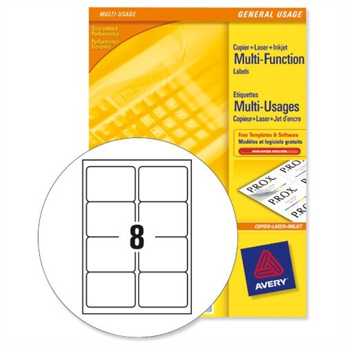avery 3427 multi function labels 8 per sheet white 800 labels