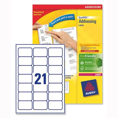 avery l7160 100 address labels laser 21 per sheet 63 5x38 1mm 2100