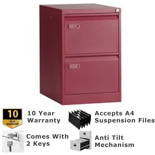 Go 2 Drawer Steel Filing Cabinet Red