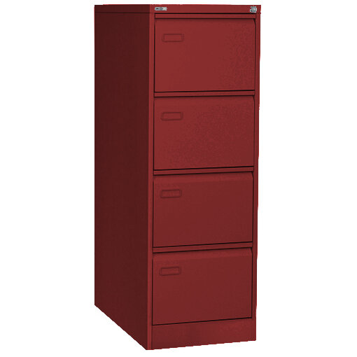 GO 4 Drawer Steel Filing Cabinet Red   Designed To Hold Foolscap Suspension  Files   WxHxD