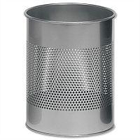Durable Round Metal Bin 15 Litres Metallic Silver 3310/23
