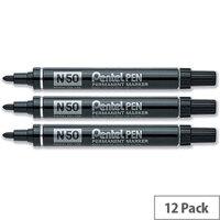 Pentel Marker N50 Permanent Black Bullet Tip Pack 12