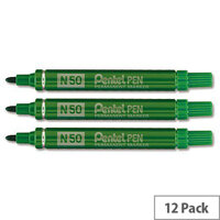Pentel Marker N50 Permanent Green Bullet Tip Pack 12
