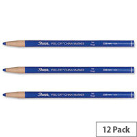 Sharpie China Marker Pencil Blue Peel-off Unwraps to Sharpen Pack 12