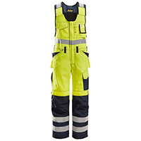 Snickers 0213 High-Visibility One-piece Overall Trousers With Holster Pockets Class 2 Size 250 (Waist:35inch/Height:6'6ft) High-Vis Yellow & Navy