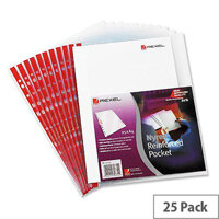 Rexel Nyrex Side Opening Punched Pocket A4 Clear Red Strip 90 Micron Pack 25