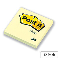 Post-it Notes Canary Yellow 76x76mm Pad of 100 Sheets Pack 12