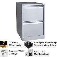 2 Drawer Steel Filing Cabinet Flush Front Goose Grey Bisley BS2E