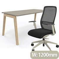 Nova Wood Home Office Desk Grey Desktop & Solid Ash Legs W1200xD700mm & NV Posture Office Chair with Contoured Mesh Back and Adjustable Lumbar Support Lime White Frame Black Seat
