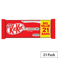 Nestle Kit Kat Milk Chocolate 2 Finger Bars Chocolate Covered Wafer Biscuits Individually Wrapped (Pack 21)