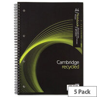 A4 Notebook Wirebound Recycled 100 Pages 80gsm Ref 400020193 Cambridge EveryDay [Pack 5]