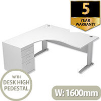 Radial Office Desk Left Hand With 600mm Desk-High Pedestal In White. Komo Range Bundle. Bundle Deal Includes Desk & Desk High Pedestal. Assembly Required.
