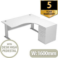 Radial Office Desk Right Hand With 600mm Desk-High Pedestal W1600xD1600xH725mm White Komo