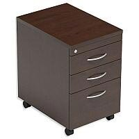 Filing Pedestal Mobile Tall Under-Desk 3-Drawer Dark Walnut  - Universal Storage Can Be Used Alone Or Accompany The Switch, Komo or Ashford Ranges