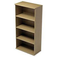 Medium Tall Bookcase with Adjustable Shelves and Floor-leveller Feet W800xD420xH1490mm Urban Oak  - Universal Storage Can Be Used Alone Or Accompany The Switch, Komo or Ashford Ranges