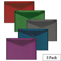 Snopake Fusion Polyfile Wallet File Polypropylene A4 Assorted Ref 15643 [Pack 5]