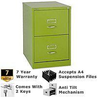 Bisley GLO Filing Cabinet 2-Drawer Green Lime Ref BS2C