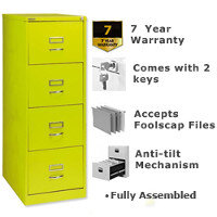 Bisley GLO Filing Cabinet 4-Drawer Green Lime Ref BS4C