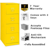 Bisley GLO Filing Cabinet 4-Drawer Lemon Yellow Ref BS4C