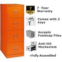 Bisley GLO Filing Cabinet 4-Drawer Orange Ref BS4C