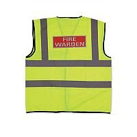 IVG Fire Warden Vest High Visibility L Yellow with Fire Warden Reflective Logo Large Ref IVGSFVWL