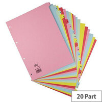 Elba Heavyweight 225gsm Pressboard Dividers Extra Wide Europunched A-Z A4 Assorted
