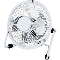 Desk Fan With USB Connection 4 Inch With Tilt White