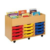 Trexus by Monarch Mobile Artbox Unit With 12 Coloured Shallow Trays Beech Ref MEQ4001-6 Coloured