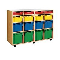 Trexus by Monarch Mobile Unit With 16 Coloured Mixed Size Trays Beech Ref MEQ1116-16 Coloured