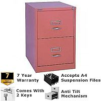 Bisley GLO Filing Cabinet 2-Drawer Pink Ref BS2C