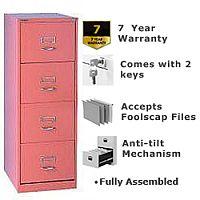 Bisley GLO Filing Cabinet 4-Drawer Pink Ref BS4C