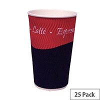Caterpack Ripple Disposable Hot Drinks Paper Cups 16oz/450ml [Pack of 25]