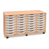 Mobile Unit Complete with 28 Coloured Shallow Trays Beech Ref MEQ28W-28 Clear