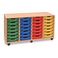 Mobile Unit Complete with 28 Coloured Shallow Trays Beech Ref MEQ28W-28 Coloured