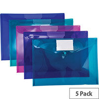 Snopake Polyfile ID Wallet File Polypropylene with Card Holder A4 Electra Assorted Ref 14734 [Pack 5]